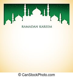 """Mosque """"Ramadan Kareem"""" (Generous Ramadan) card in vector..."""