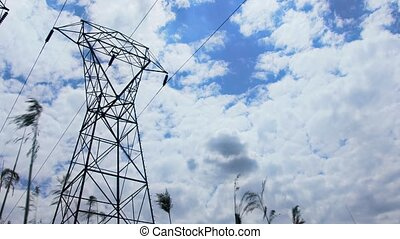 4K Power Line Tower Cloud sky clouds power lines