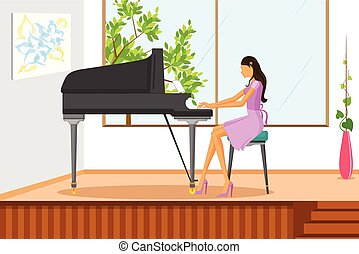 Beautiful woman playing music on piano