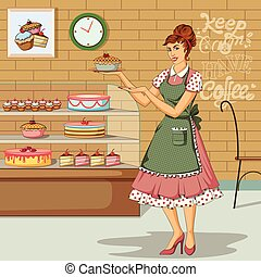 Retro woman in cake shop - Concept of retro woman in cake...
