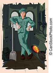 Retro man fueling steam engine - Concept of retro man...