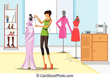 Beautiful woman fashion designer taking measurement. Vector...