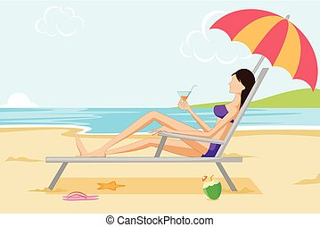 Beautiful woman relaxing on beach. Vector illustration