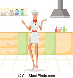 Beautiful woman chef cooking in kitchen