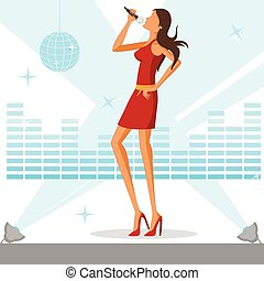 Beautiful woman singing in disco