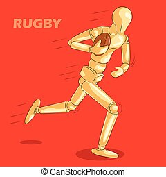 Concept of Rugby sports with wooden human mannequin