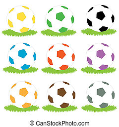 Simple coloured soccer balls - a set of simple bright...