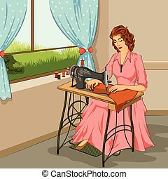 Retro woman making dress in sewing machine - Concept of...