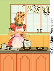 Retro woman in kitchen - Concept of retro woman cooking food...