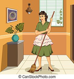 Retro woman mopping house - Concept of retro woman mopping...