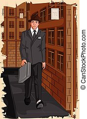 Retro businessman walking on street - Concept of retro...
