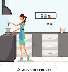 Beautiful woman cooking in kitchen