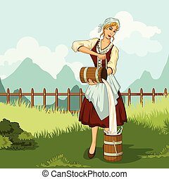 Retro woman milkmaid pouring milk - Concept of retro woman...