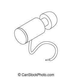 Hose for paintball marker icon, isometric 3d style