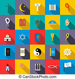 Religion icons set, flat style - Religion icons set in flat...