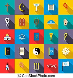 Religion icons set, flat style - Religion icons set in flat...