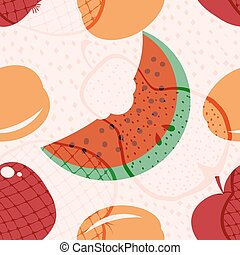 Seamless vector pattern with fruits and berries. Pear, watermelon, apple, pomegranate and