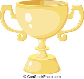 Gold Cup winner in Cartoon style. Gold Cup - the award winner of the competition. Yellow Cartoon cup on a white background. Design element. Stock vector