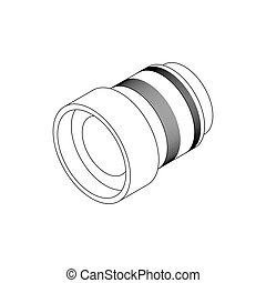 Interchangeable lens for camera icon in isometric 3d style...