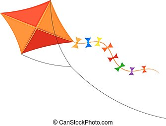 Vector Cartoon kite on a white background. Color...