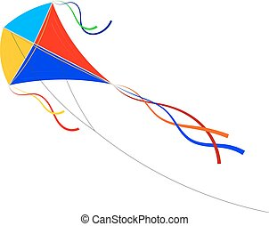 Vector Cartoon kite on a white background. Colored...