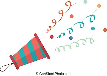 Cartoon popper on a white background. Popper with streamers and confetti in a flat style.