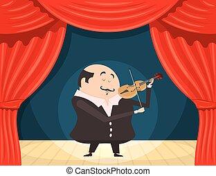 Fiddler on the scene Vector illustration violinist on stage...