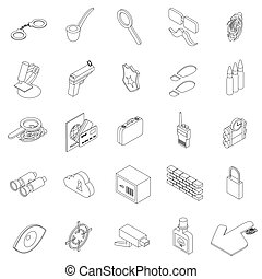 Spy icons set, isometric 3d style - Spy icons set in...