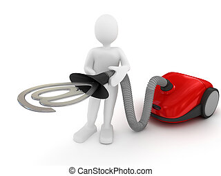 Vacuum cleaner over white 3d rendered image