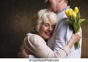 Grateful wife and loving husband - Happy grateful older wife...