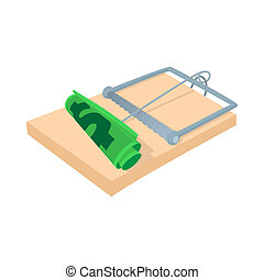 Money in a mousetrap icon, cartoon style