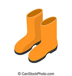 Yellow rubber boots icon, isometric 3d style - Yellow rubber...