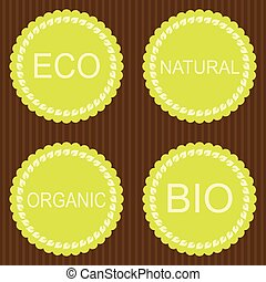 Collection of bio and eco organic labels