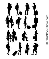 Traveling  Silhouette Peoples, art vector design