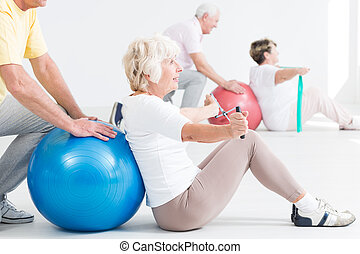 Helping her stay in shape despite old age