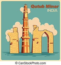 Vintage poster of Qutub Minar in Delhi famous monument of...
