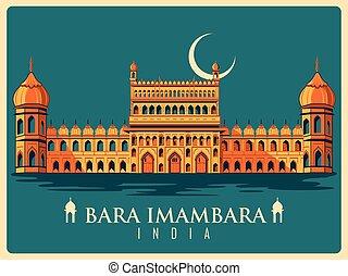 Vintage poster of Bara Imambara in Uttar Pradesh famous...