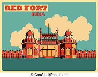 Vintage poster of Red Fort in Delhi famous monument of India...