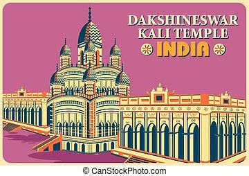 Vintage poster of Dakshineswar Kali Temple in Kolkata famous...