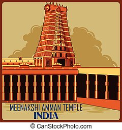 Vintage poster of Meenakshi Amman Temple in Tamil Nadu famous monument of India