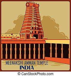 Vintage poster of Meenakshi Amman Temple in Tamil Nadu...