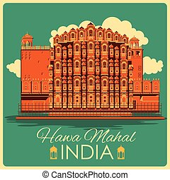 Vintage poster of Hawa Mahal in Rajasthan famous monument of...