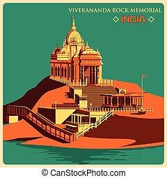 Vintage poster of Vivekananda Rock Memorial in Kanyakumari famous monument of India