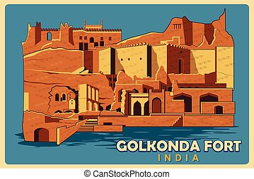 Vintage poster of Golkonda Fort in Hyderabad famous monument...