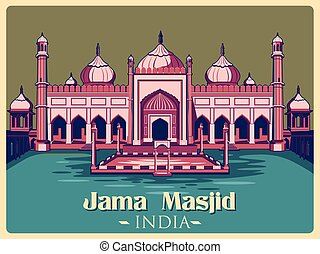 Vintage poster of Jama Masjid in Delhi famous monument of...