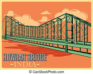 Vintage poster of Howrah Bridge in Kolkata famous monument...