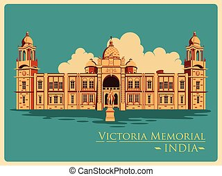 Vintage poster of Victoria Memorial in Kolkata famous...
