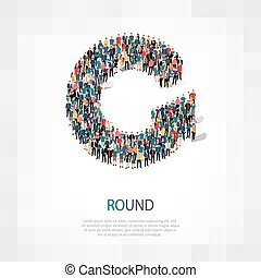 round people sign 3d - Isometric set of styles, round , web...