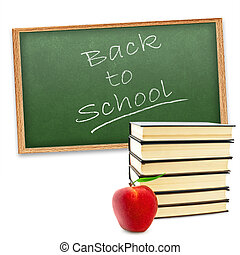 """Back to school!\"" theme with red apple and stack of books..."