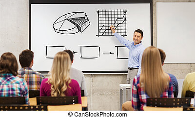group of students and happy teacher at white board -...